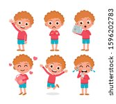 set of kids characters and... | Shutterstock .eps vector #1596202783