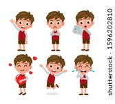 set of kids characters and... | Shutterstock .eps vector #1596202810