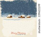 winter landscape on old paper... | Shutterstock .eps vector #159622199