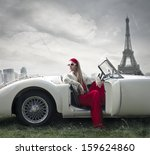 beautiful woman on a vintage... | Shutterstock . vector #159624860