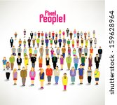 a big group of people gather... | Shutterstock .eps vector #159628964