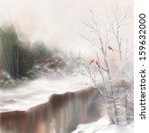 Winter Watercolor Landscape....