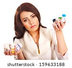 young woman having pills and... | Shutterstock . vector #159633188