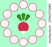 whole and slices of radish... | Shutterstock .eps vector #1596374383