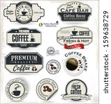 coffee labels and badges  | Shutterstock .eps vector #159638729