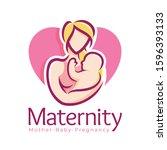 maternity logo design template  ... | Shutterstock .eps vector #1596393133