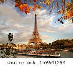 Eiffel Tower With Autumn Leave...