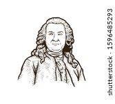 vintage portrait of a man.... | Shutterstock .eps vector #1596485293