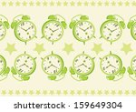 alarm clock pattern background  | Shutterstock .eps vector #159649304