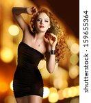 young beautiful woman in black ... | Shutterstock . vector #159655364