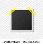 black and white polaroid photo... | Shutterstock .eps vector #1596585850