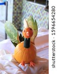 Carved Fruit Bird On Display At ...