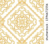 seamless damask pattern. golden ... | Shutterstock .eps vector #1596672556