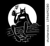 cartoon style cat character  in ... | Shutterstock .eps vector #1596690280