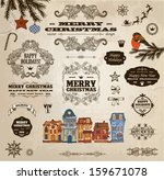 set of calligraphic christmas... | Shutterstock .eps vector #159671078