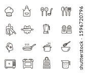 cooking icons set. line style... | Shutterstock .eps vector #1596720796