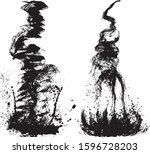 waterfall. set of brush stroke... | Shutterstock .eps vector #1596728203