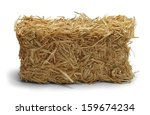 Hay Bale Side View Isolated On...