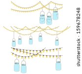 vector set of hanging glass jar ... | Shutterstock .eps vector #159678248