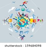 world map and crowd sourcing. a ... | Shutterstock .eps vector #159684098