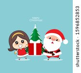 santa claus and cute girl with...   Shutterstock .eps vector #1596852853