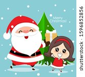 santa claus and cute girl with...   Shutterstock .eps vector #1596852856