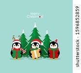 penguin. christmas background....   Shutterstock .eps vector #1596852859