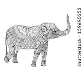 embroidery elephant  | Shutterstock .eps vector #159690353