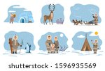 collection of eskimos people by ...   Shutterstock .eps vector #1596935569