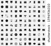 set of 100 glyph universal... | Shutterstock .eps vector #1596936310