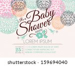 Stock vector baby shower invitation card with flowers 159694040