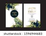 wedding invitation frame set ...   Shutterstock .eps vector #1596944683