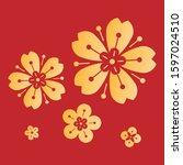 golden blossom for chinese new...   Shutterstock .eps vector #1597024510