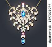 illustration gold brooch ... | Shutterstock .eps vector #1597035079