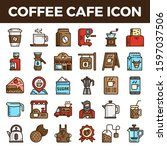 coffee cafe filled outline... | Shutterstock .eps vector #1597037506
