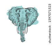 hand drawn elephant head with... | Shutterstock . vector #1597071523