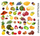 set of fruits isolated on a... | Shutterstock .eps vector #1597076266