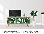 tv cabinet in modern living... | Shutterstock .eps vector #1597077253