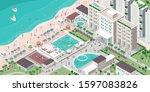 luxury hotel resort with people ...   Shutterstock .eps vector #1597083826