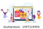 winter sale online shopping... | Shutterstock .eps vector #1597119493