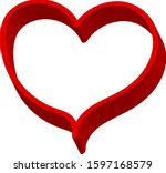 3 d red heart   outline drawing ... | Shutterstock .eps vector #1597168579