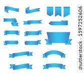 set of blue ribbon banner icon... | Shutterstock .eps vector #1597252606
