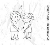 sketch of cute little kids... | Shutterstock .eps vector #159725504