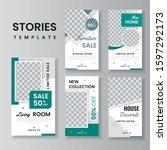 furniture sale for social media ... | Shutterstock .eps vector #1597292173