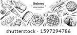 bakery background. bakery top... | Shutterstock .eps vector #1597294786