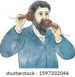 alexander graham bell  first... | Shutterstock .eps vector #1597332046