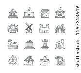 buildings related icons  thin... | Shutterstock .eps vector #1597353649