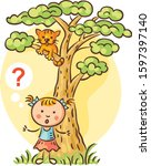 little girl has lost her kitten ... | Shutterstock .eps vector #1597397140