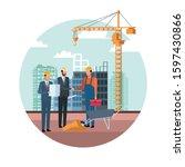 engineers and builder working...   Shutterstock .eps vector #1597430866