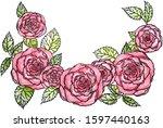 watercolor black liner... | Shutterstock . vector #1597440163